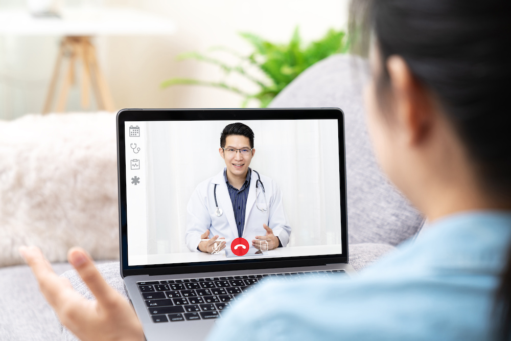 doctor video visit remote treatment for medical concerns at home. Telemedicine, Online healthcare.
